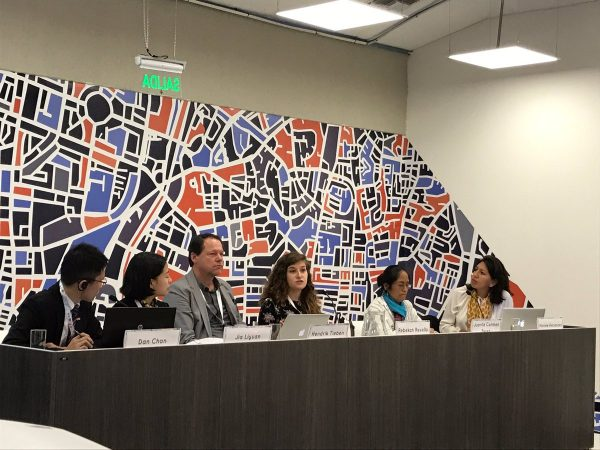 IHC Global Communications Officer Rebekah Revello speaks at the UN Working Group for Children and Youth panel on Civil Society