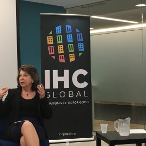 """Judith Hermanson speaks at the IHC Global event 'The New Urban Agenda: Can We Have it All?"""""""