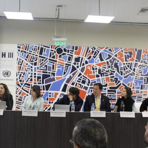 IHC Global President and CEO Judith Hermanson moderates an IHC Global event, Intersections: Bringing together necessary elements for Inclusive, Sustainable Sanitation Strategies in Cities, at Habitat III.
