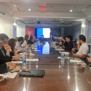 IHC Global President and CEO Judith Hermanson addresses a roundtable of urban experts about the implementation of the New Urban Agenda.